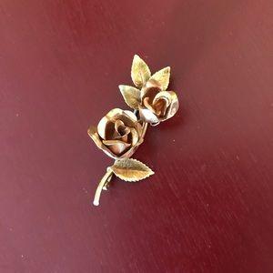 Vintage rose gold tone rosebud and bloom pin